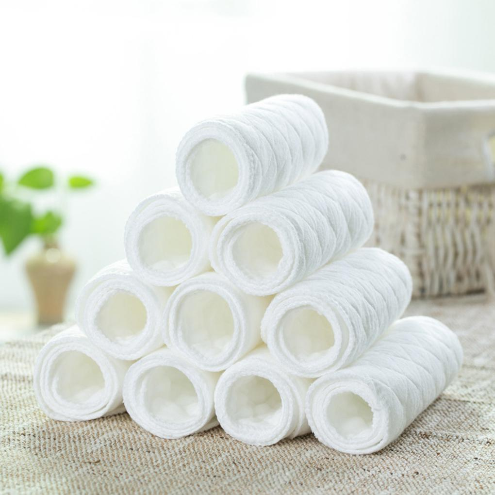 High Quality 10PCS/Set 3 Layers White Cotton Reusable Washable Pad Diaper Infant Baby Breathable Absorbent Nappies