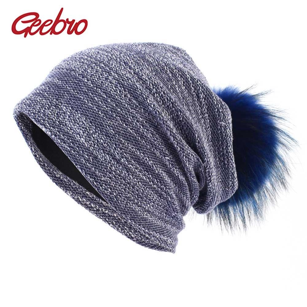 f3e3f86e686 Geebro Women S Slouchy Beanie Hat Winter Knitted Cotton Beanie With Raccoon  Fur Pompom For Femme Skullies Beanies With Fur Ball Mens Hats Straw Hat  From ...
