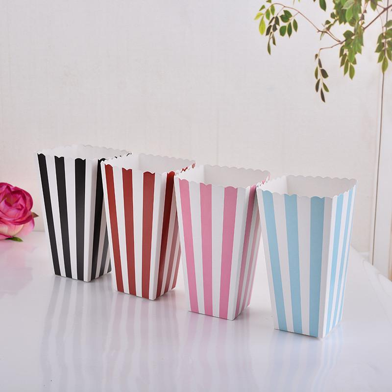 Colorful Chevron Paper Popcorn Boxes Wedding Table Decoration Baby Shower Birthday Party Decorations Event Party Supplies