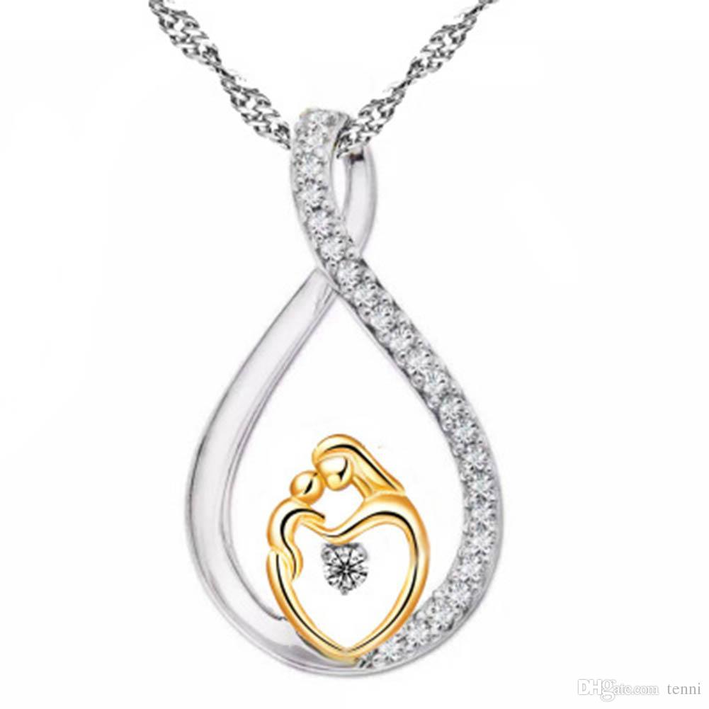 Wholesale Moms Jewelry Birthday Gift For Mother Baby Heart Charm Pendant Mom Daughter Son Child Family Love Cubic Chain Necklace Free Ship Key