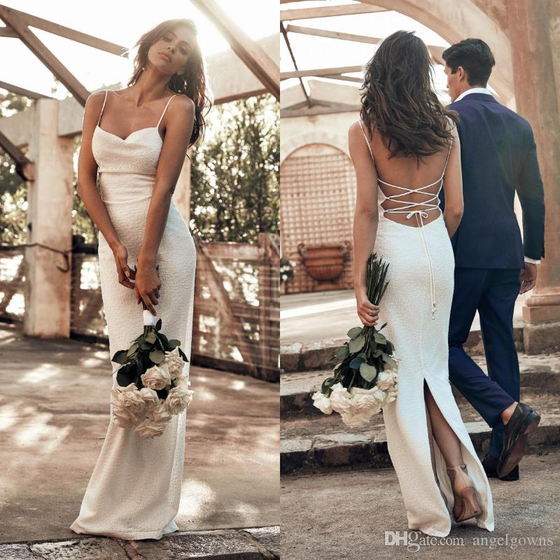 In Stock Cheap Straps Sheath Wedding Dresses New 2019 Back Slit Sexy Open Back Beach Boho Bridal Gowns Spaghetti Bride Dress F0598