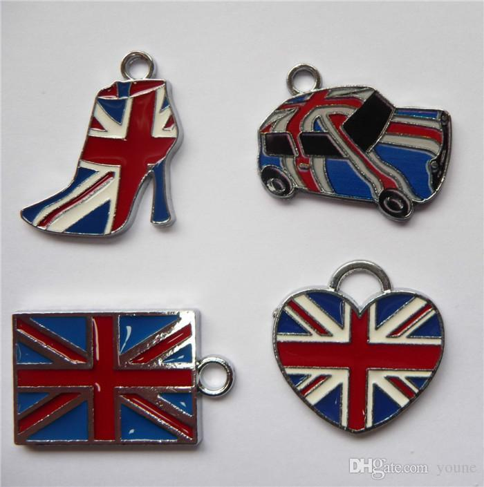 Hot! 50pcs Uk Flag Classi Design Enamel Charms Antique Silver United Kingdome Flag Charm Pendant Can Choose