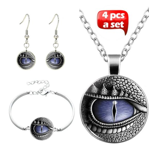 Dragon Eye Glass Cabochon Necklace & Earrings & Bangle Set(Totally 4 Pcs)