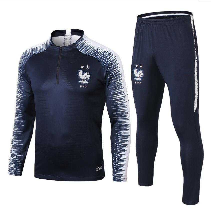 buy online 9d057 20b80 Survetement de foot France football tracksuit 2018 -19 world cup soccer  Training suit long sleeve maillot de foot MBAPPE training suit kit