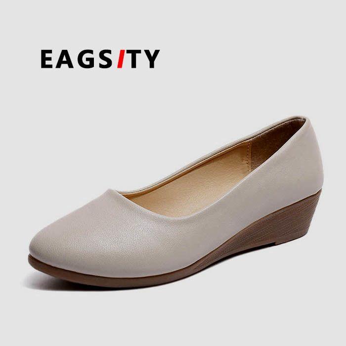 6ac77b6f Compre EAGSITY Zapatos De Cuña Para Mujer Cómodos Zapatos De Vestir Para  Damas Fiesta Baile Beige Negro A $17.65 Del Shoe6 | DHgate.Com
