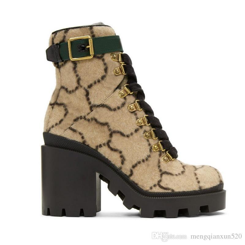 2019 Herbst Winter Martin Stiefel Designer Luxus Frauen Schuhe Schreiben Suede hochhackige Stiefel Metall Fashion Damen kurze Stiefel Größe 35-42