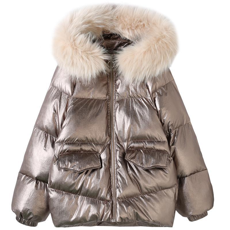 finest selection 9269c fc587 Parka donna giacca invernale femminile cappotti luminosi con cappuccio  collo di pelliccia grande caldo Parker giacca addensare vestiti imbottiti  ...