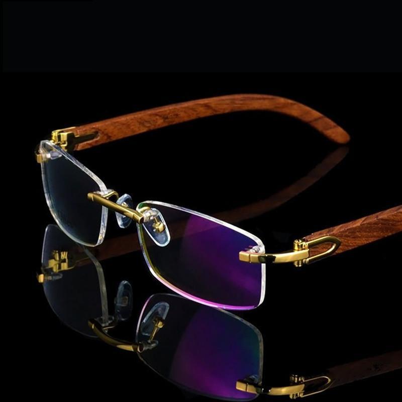 a1734f7458 2019 Rimless Wooden Gold Glasses Frame Men Light Weight Optical Rim Eyeglasses  Frames Brand Designer Prescription Myopia Spectacles From Splendone