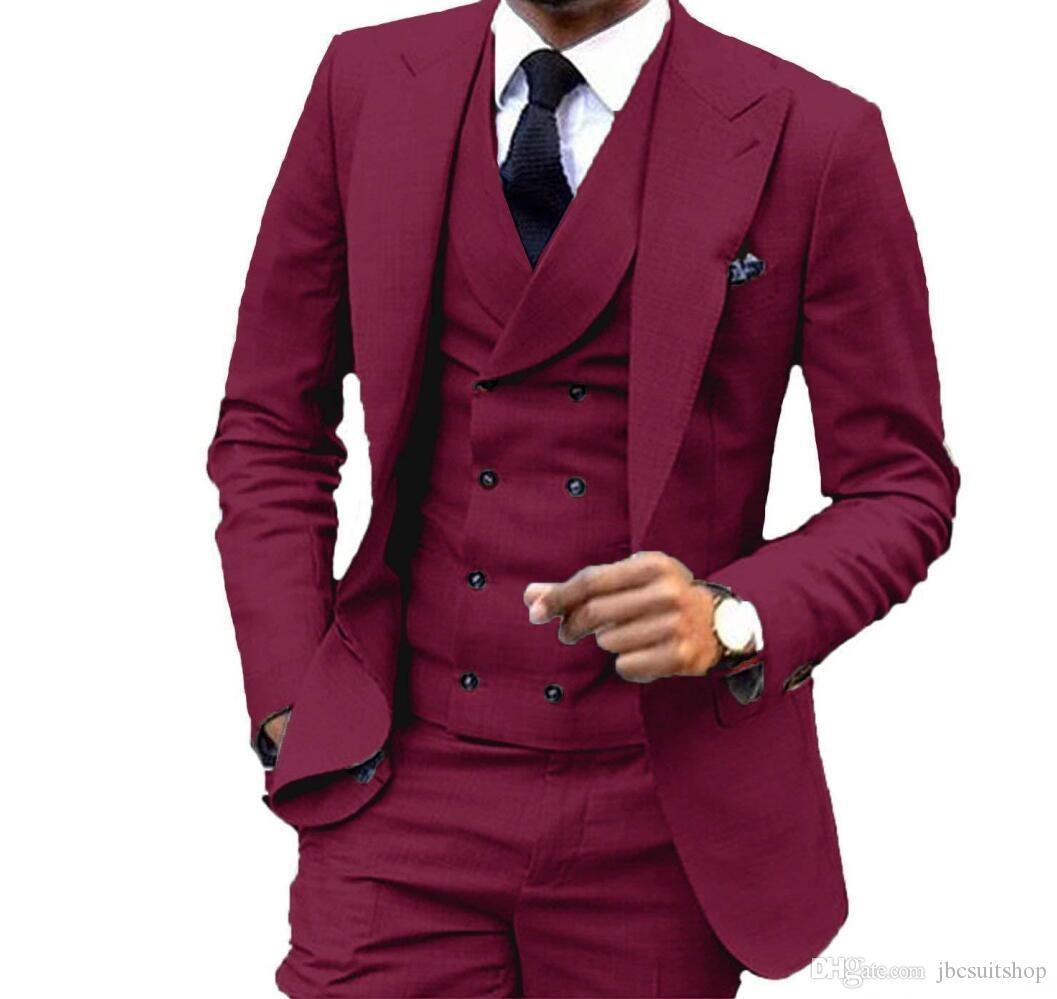 Custom Made Borgogna One Button Smoking dello sposo Smoking picco Groomsmen Mens Business Party Suits (Jacket + Pants + Vest + Tie) NO: 1403