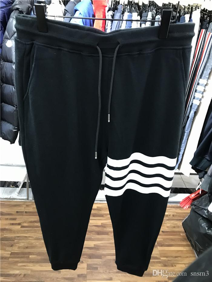 Tide brand 2019 spring and summer new products color matching ribbon four white bars casual pants Wei pants sports black trousers