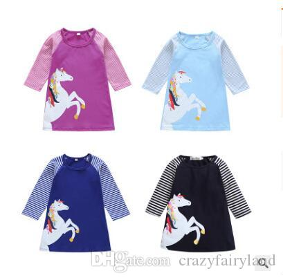 ce0a7e928 Girls Dress Star Unicorn Patch Embroidery Clothing Children Clothes ...
