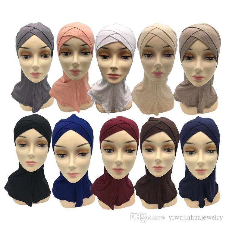 2019 new design 30cmX40cm knitting cotton kids muslim hijab girls muc hijab kids islamic scarf with mix color