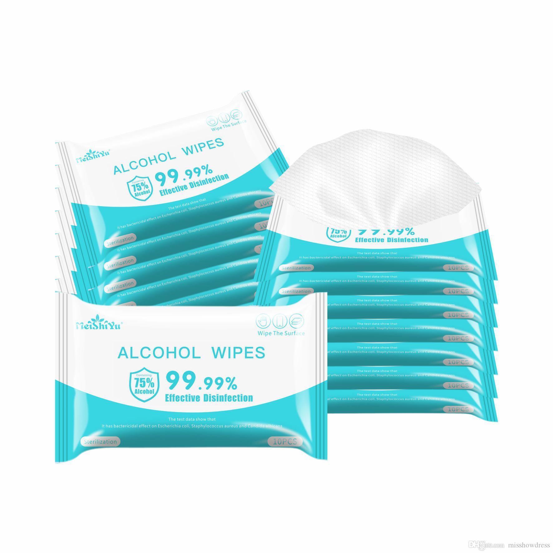 75% cotone imbevuto di alcol 15 * 8cm portatile Wet Wipe disinfezione monouso mano Salviettine / pack di pulizia Wipe disinfezione salviette DHL Ship