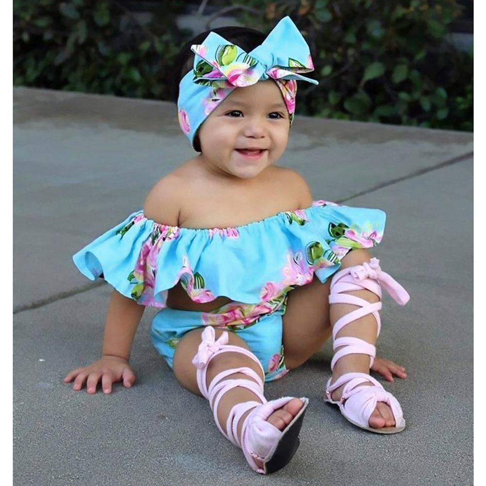 3fce66cbc36 2019 Baby Girls Clothes Set Pretty Infant Baby Girl Off Shoulder Floral  Ruffle Romper Shorts Sunsuit Girls Summer Beach Clothing Set Y18120801 From  ...