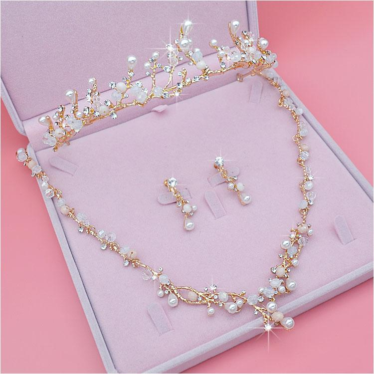 bd3cbf3eab433 Bridal Jewelry Set Rhinestone Crystal Gold Tiara Silver Crown Earrings for  Wedding Necklace Set Accessories Bride Luxury Jewelry