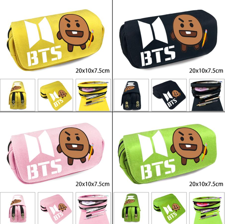 2feceda51218 Kpop BTS Bangtan Boys BT21 Shooky Double Layer Canvas Pencil Case Zipper  Pen Bag Cosplay Makeup Bag Cosmetic Stationery Box