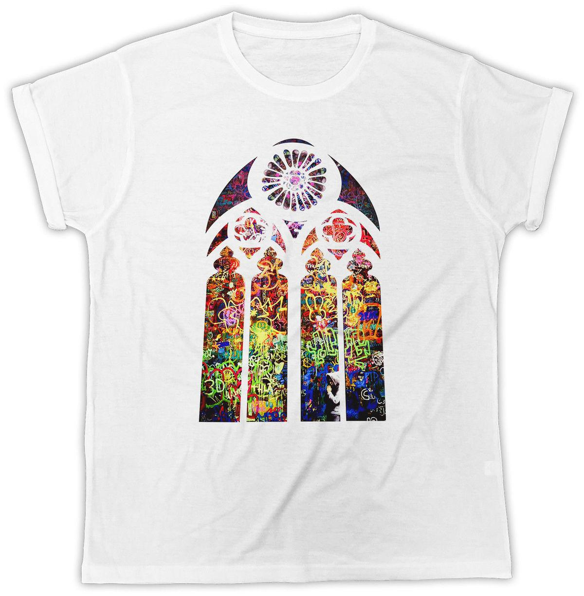 BANKSY STAINED GLASS T-SHIRT Church Window Graffiti Urban Art Men Women T Shirt Hip-Hop Simple Splicing Tee Tops Shirt