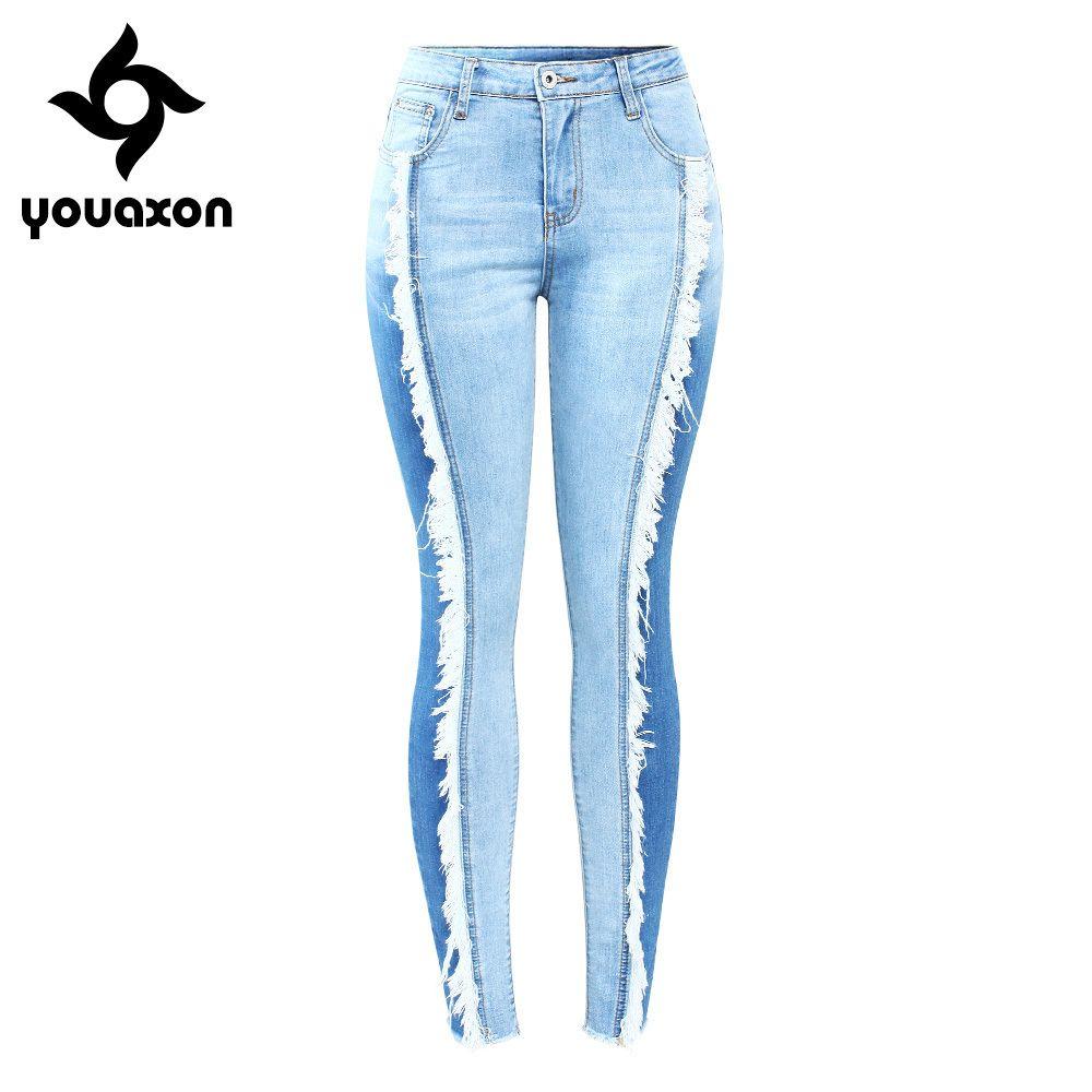 c9610dd917f Compre 2158 Youaxon Nuevo Llegó Talla Extra Jeans De Borla Mujer Elástica Patchwork  Denim Flaco Lápiz Pantalones Pantalones Para Mujeres D18111206 A $32.61 ...