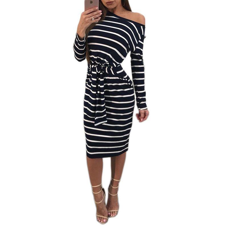 Casual Striped Knee Length Dress Bandage Tie Waist Long Sleeve Body