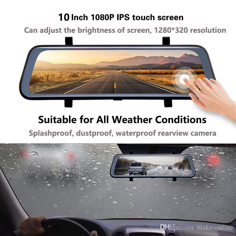Gravador de vídeo do espelho retrovisor do carro do carro de 10 polegadas HD 2K, câmera de backup reversa da lente dual câmera 1080p das filmadoras com cartão micro SD de 32GB