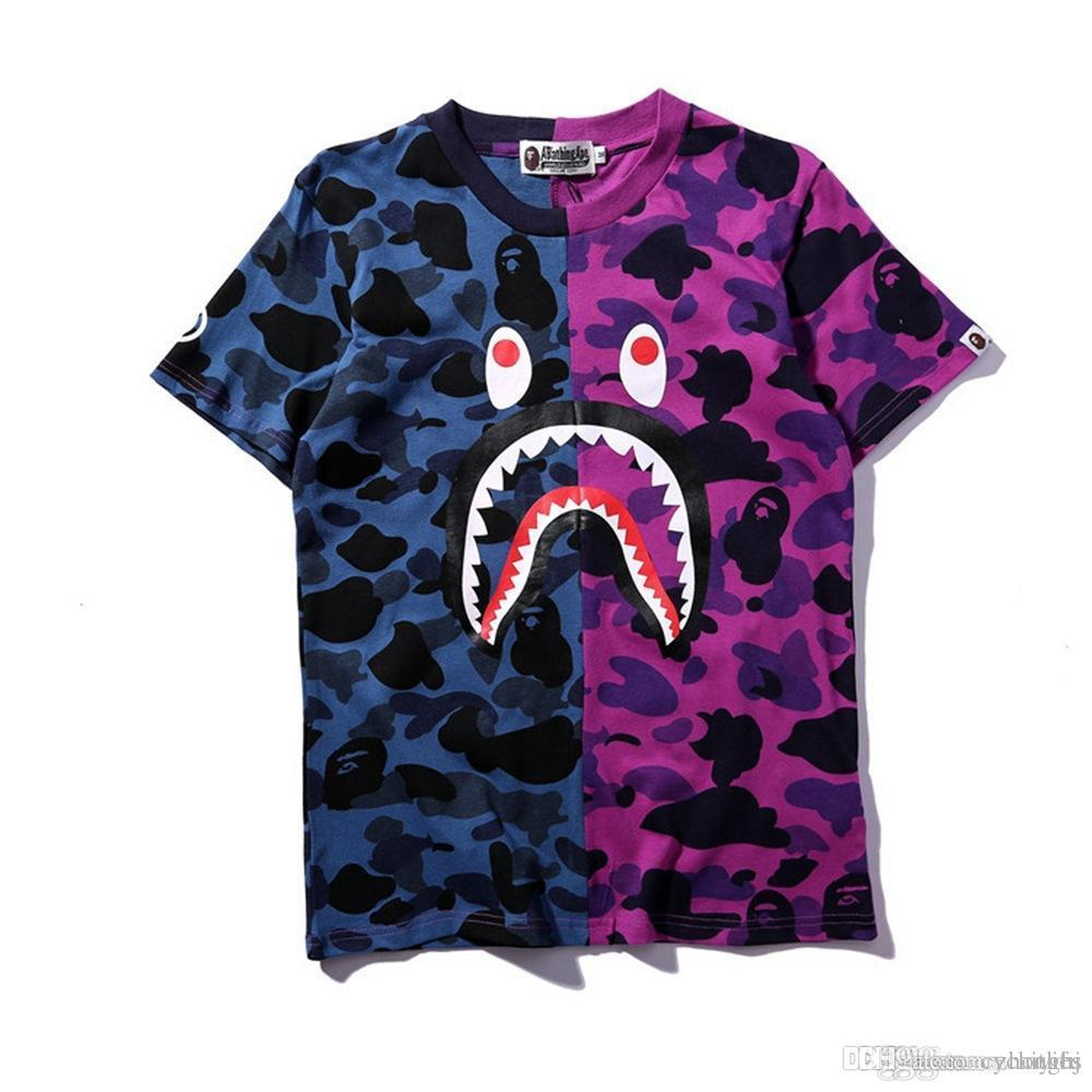 ee4667321251 New Summer Lover Shark Head Print Two Colors Camo T-Shirts Summer ...