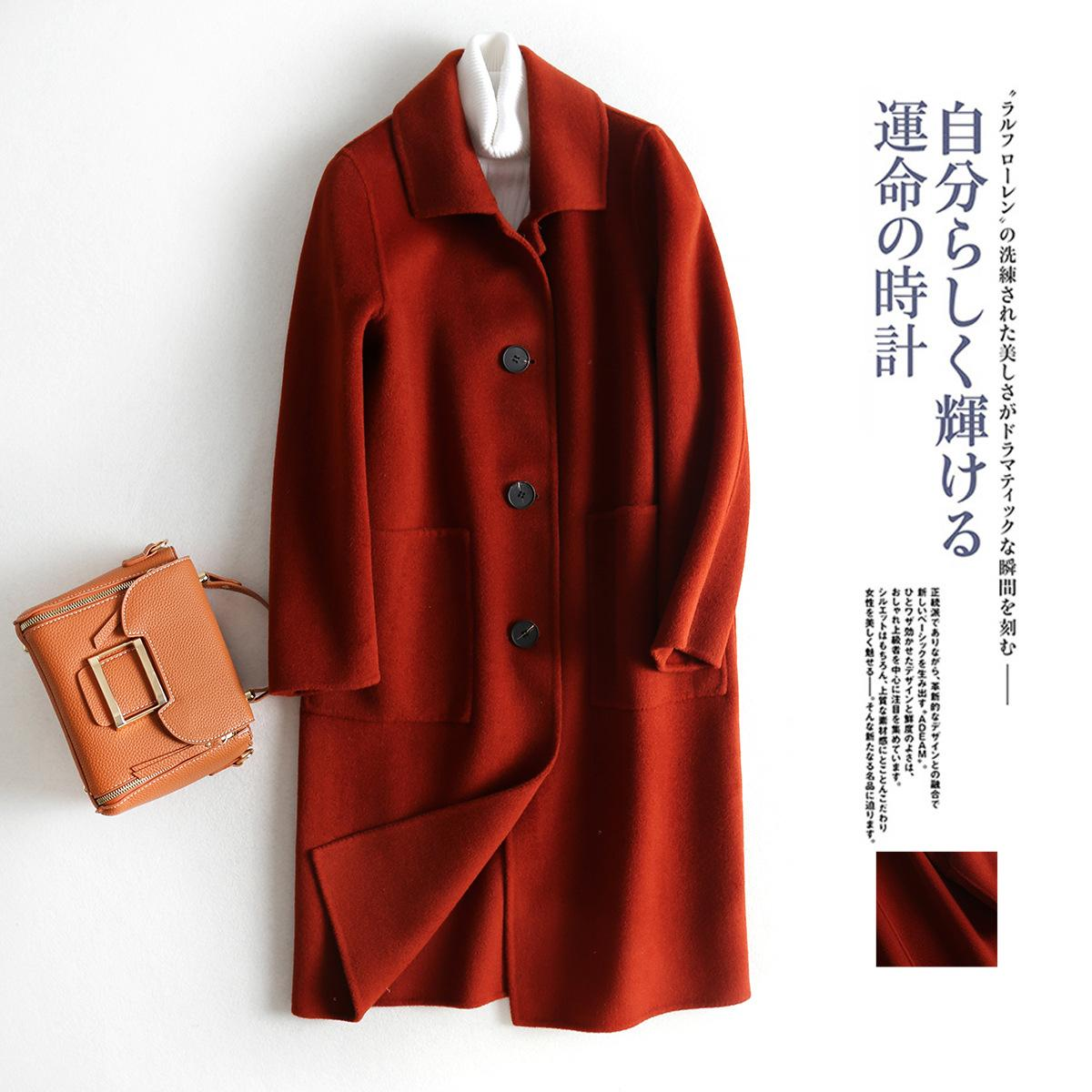 f959bd3460 New Rust Red Two Sided Cashmere Overcoat Single Row Buckle French Grace  Manual Long Restore Ancient Ways Wool Coats Womens Cardigans Jacket Nice  Jackets ...
