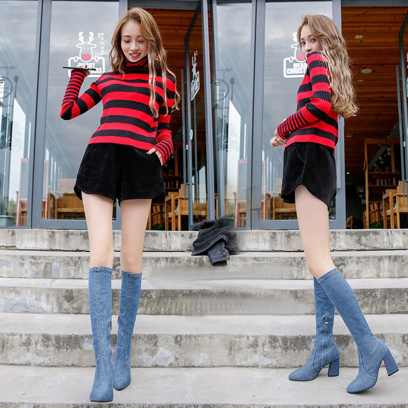 92f675a3a95 Hot Women Boots High Heels Summer Autumn Over The Knee Boots Quality Tight  High Jeans Fashion Plus Size Boots Sale Wedge Boots From Tradingmk