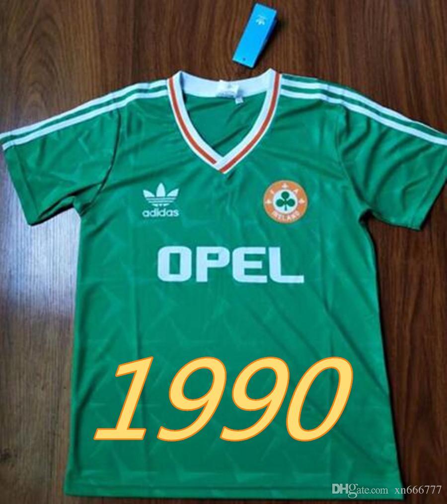 98f9cdd483157 Acheter Rétro 1990 1992 Irlande Maillots De Coupe Du Monde De Football À Domicile  Vert Irlande Équipe Nationale Jersey Classique Cru Irlandais Sheedy ...