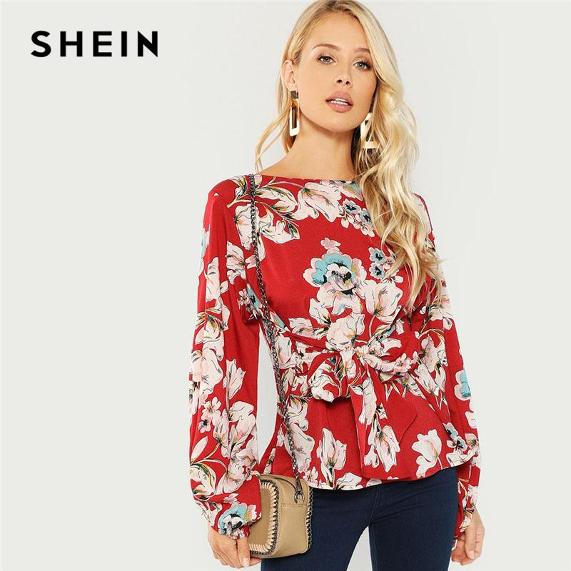 f333afb3e2 2019 Shein Burgundy Knot Front Floral Print Blouse Elegant Casual Round  Neck Long Sleeve Blouses Women Autumn Modern Lady Tops Q190419 From Shen05,  ...