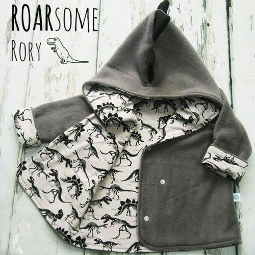 Toddler Grey Jacket Coat 3D Dinosaur Kids Baby Girl Boy Fleece Tops T-shirt Jacket & Coat 1-4T Children Spring Autumn Outwear