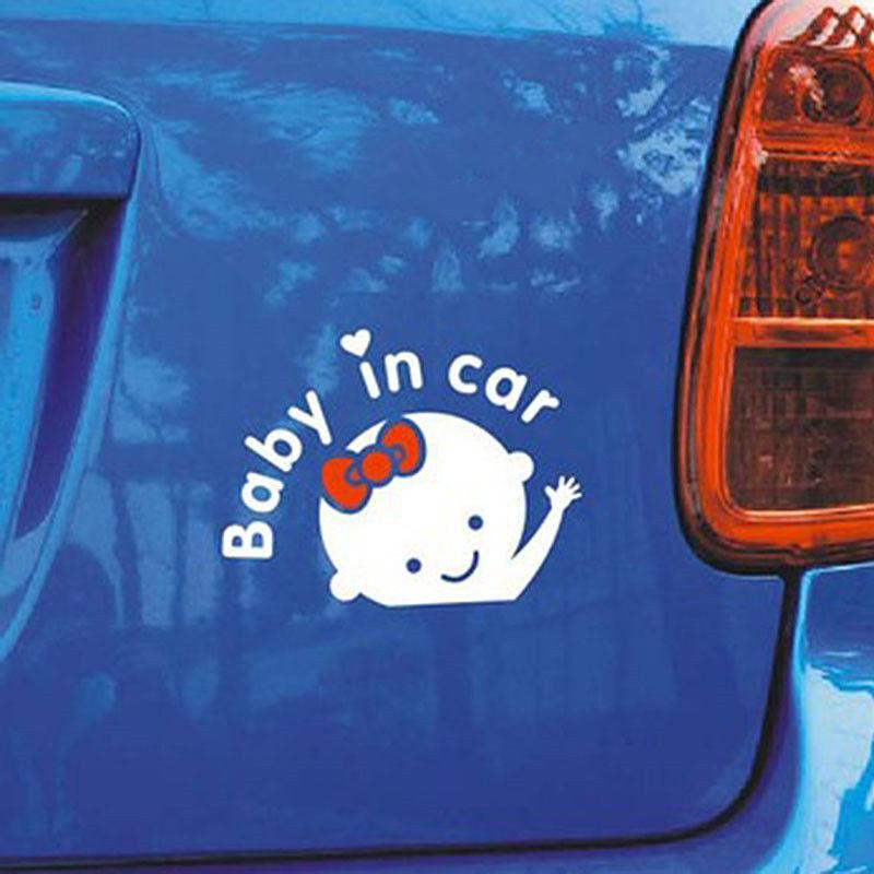 """""""Baby In Car"""" Car Style Waving Baby on Board Auto Safety Sign Car Decals Stickers PVC reflective material"""