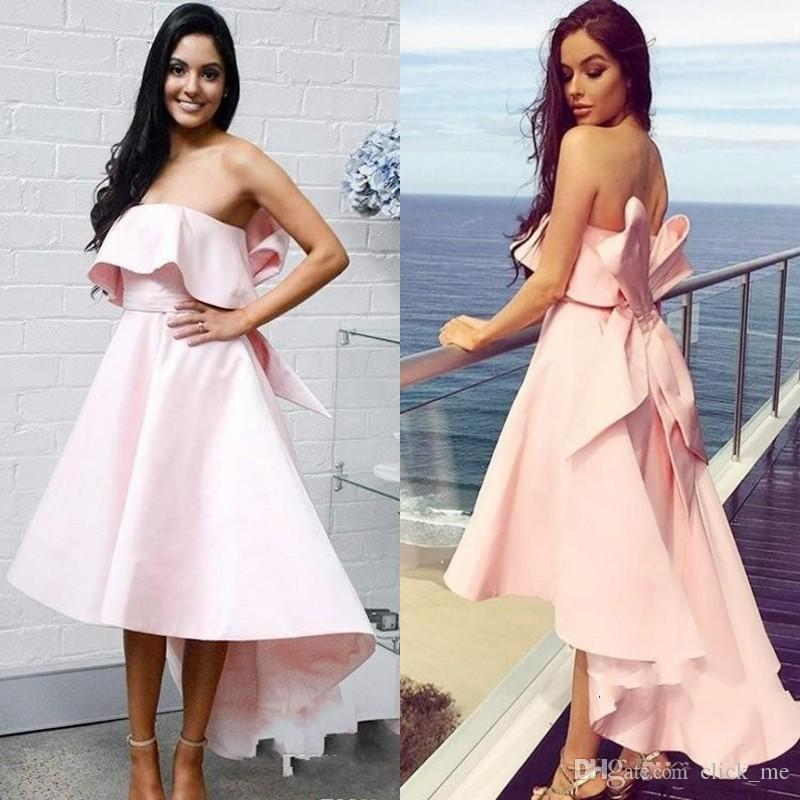 Blush Pink Bridesmaid Dresses High Low Strapless Sexy Back Wedding Party  Dress With Big Bow Satin A Line Cheap Prom Dress Asian Bridesmaid Dresses  Beachy ... 99981f78d