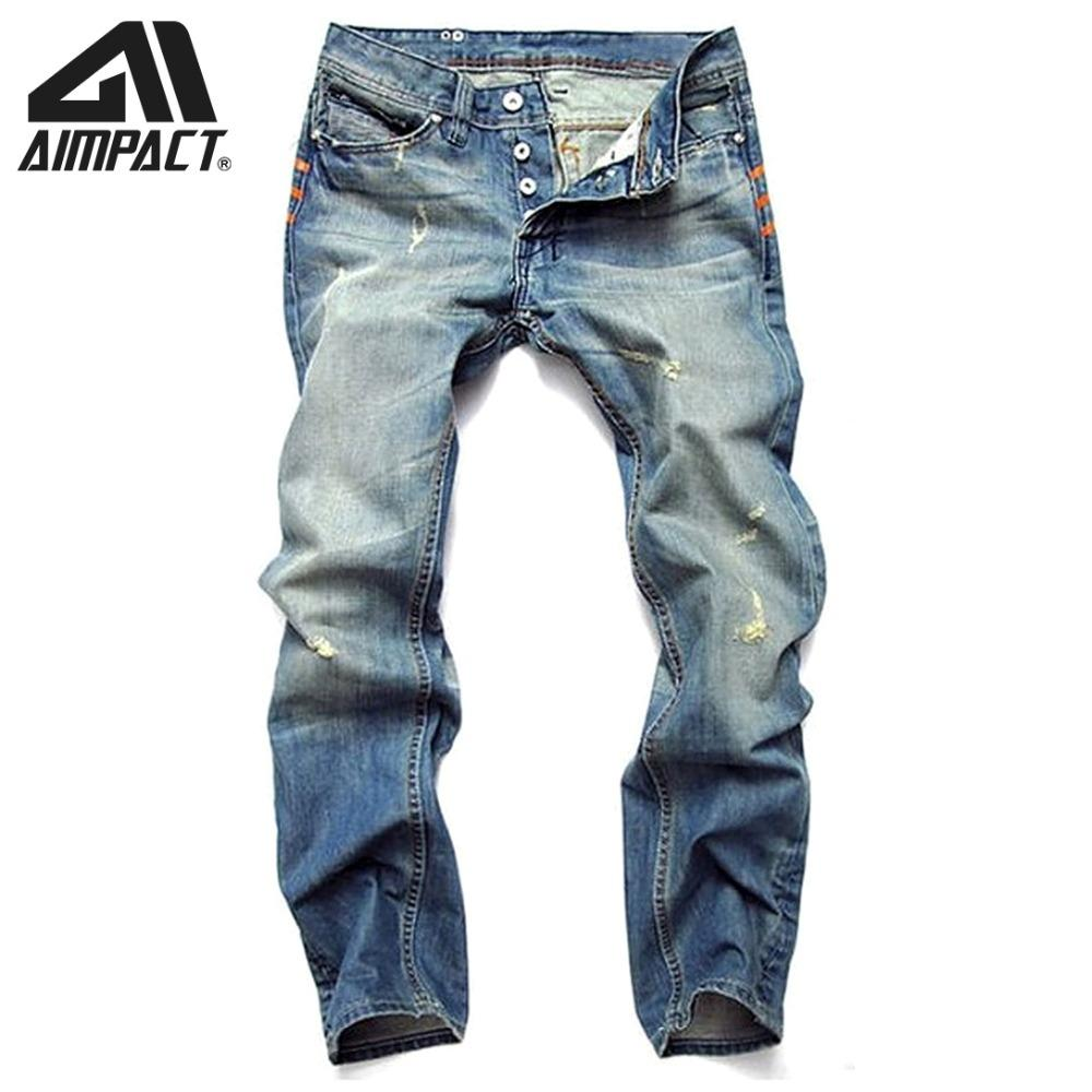 Aimpact Jeans para hombre Slim Fitted Ripped Jeans High Street Distressed Joggers Hiphop Vintage Cool Skinny Jean pantalones AM5309
