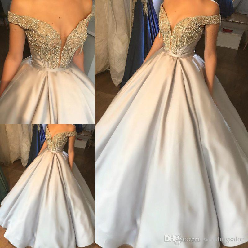 13fd173f8 Luxury Crystals Ball Gown Prom Dresses Off Shoulder Plunging Neck Beaded  Evening Gowns Floor Length Vestidos De Fiesta Satin Formal Dress Beautiful  Prom ...