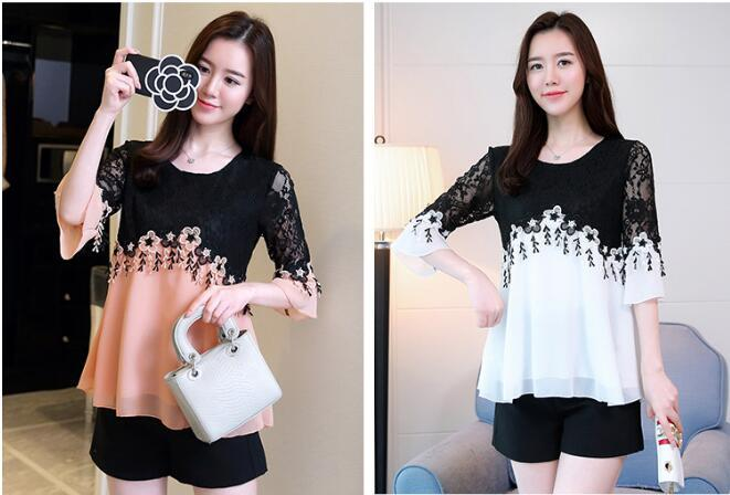 Fat MM large size women's clothing 2019 spring and summer new Korean version thin lace patchwork chiffon shirt flared sleeve shirt small shi