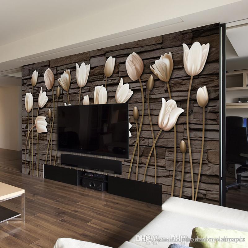 Großhandel Benutzerdefinierte 3d Tapete Wandbild Wohnzimmer Tulip ...