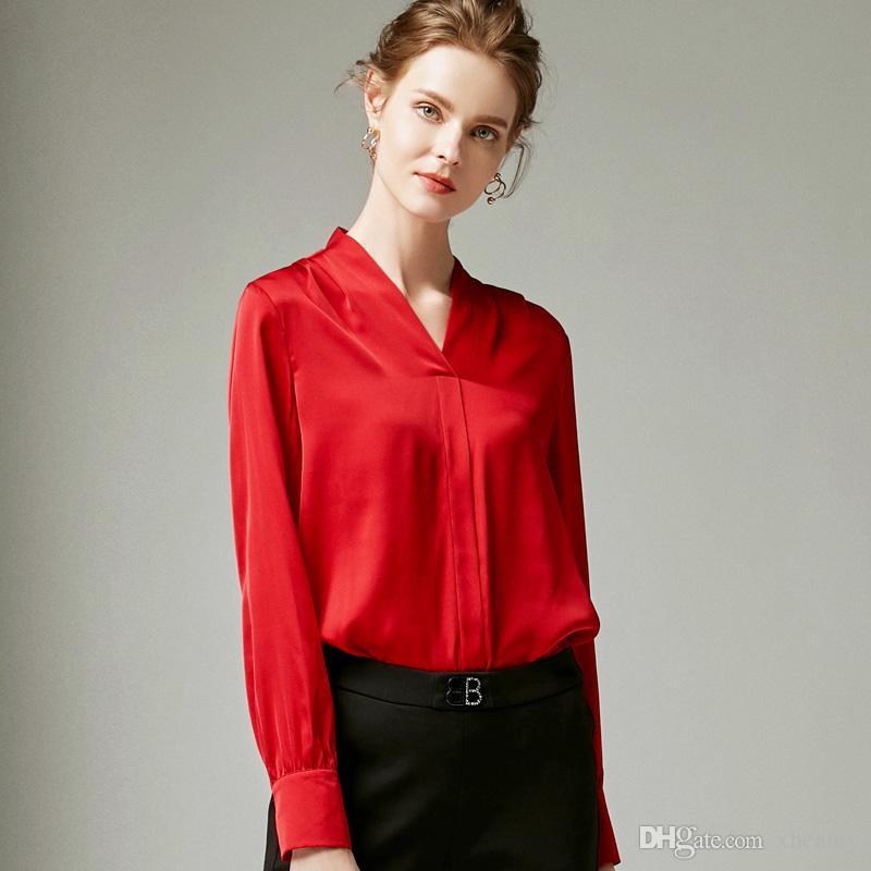 f16eabafe0 100% Pure Silk Women's Runway Shirts Sexy V Neck Long Sleeves Fashion High  Quality Red Shirts Blouses