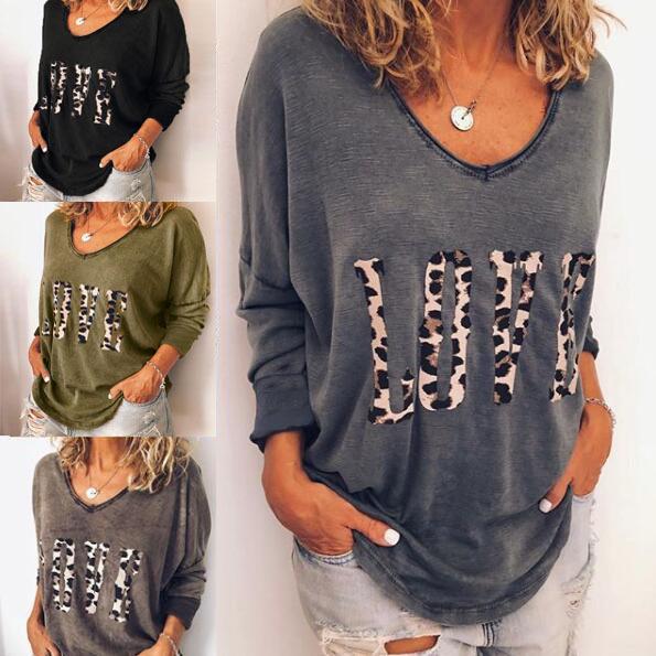 e52b38680dfec Compre Mujeres Leopardo Carta Tops Camiseta Amor Imprimir Camisetas ...