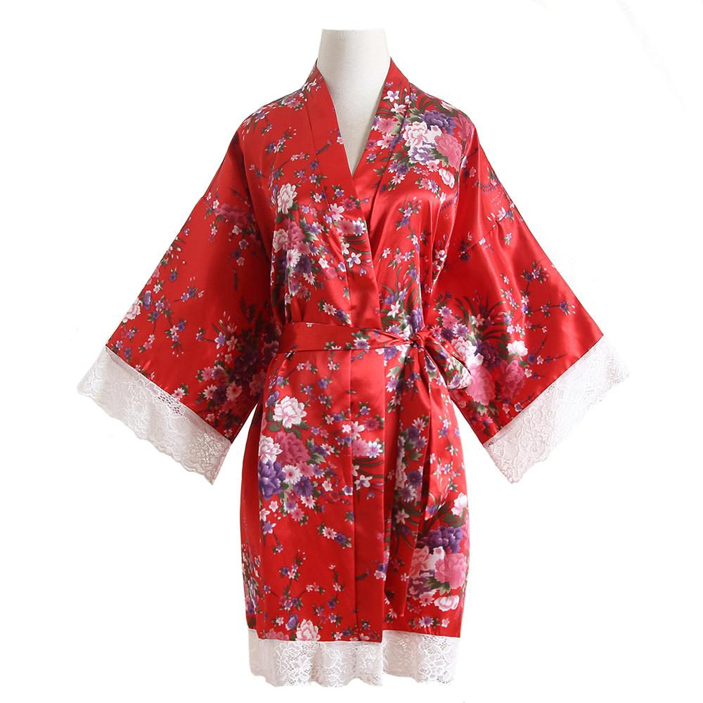 One Size Kimono Bathrobe Flower Sexy Wedding Bride Bridesmaid Robes Satin Night Dress Gown Casual Sleepwear Lace Home Clothes