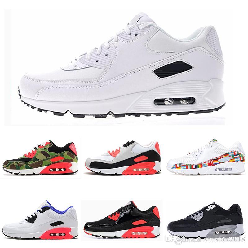 8d1f5307c New Designer 90 Mens Running Shoes Triple Black White USA Oreo BLACK ...
