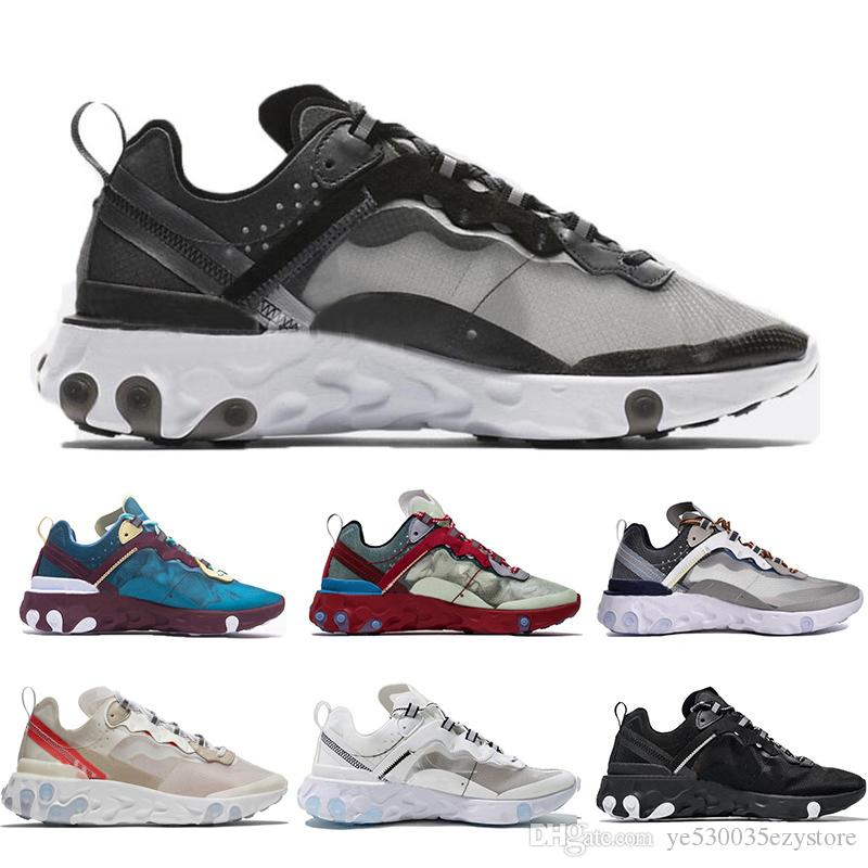 best website e9e50 9eed2 Acheter Nike Epic React Element 87 Undercover Epic React Element 87  Chaussures Pour Hommes Femmes Blanc Noir NEPTUNE GREEN Bleu Mens Formateur  Designer ...