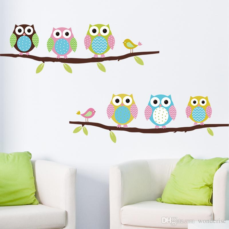 DIY Cartoon Cute Lovely Bird Owl Tree Wall Sticker for Kids Living Room Decals Children Baby Nursery Decorative Wallpapers Stickers