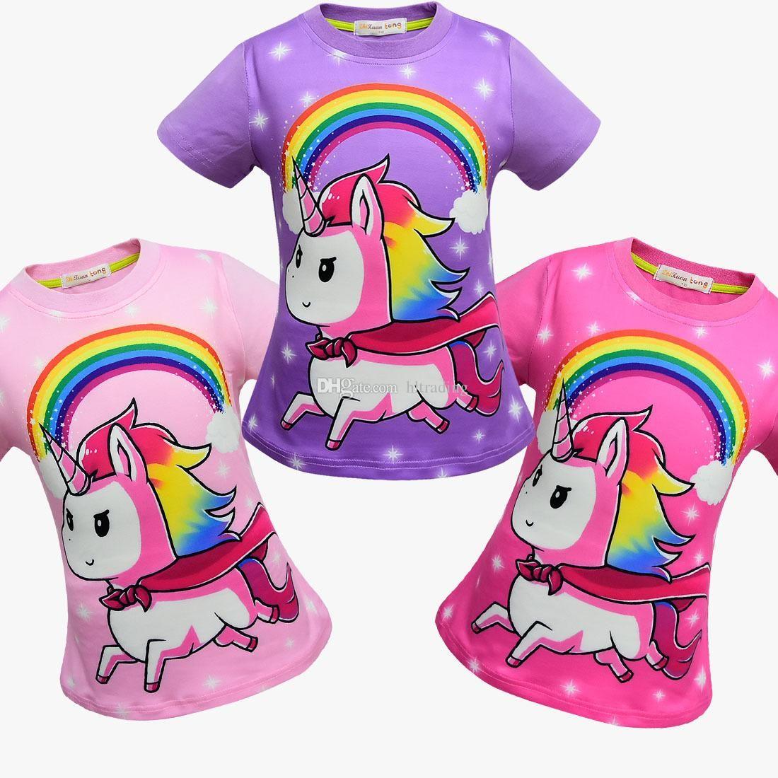 3c52be636a540 Baby girls unicorn print T-shirts 2018 summer shirt Tops cotton children  Tees kids Clothing 12 colors DHL C5581