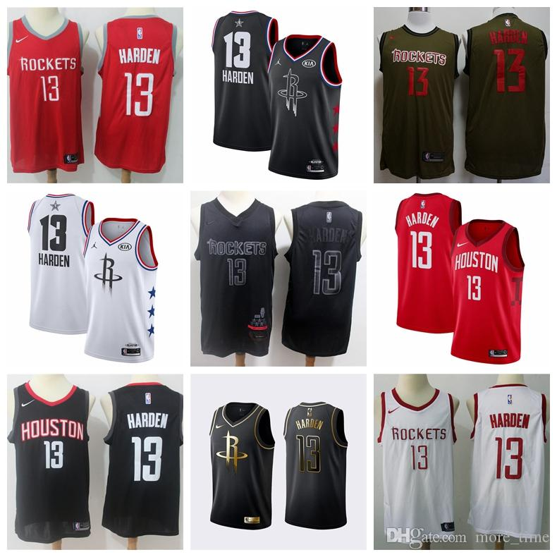 competitive price 4b86f 4ae74 New All 2019 Star James 13 Harden Jersey Houston Rocket Basketball Jersey  Stitched The City New Edition Shirts Harden Glory MVP Edition