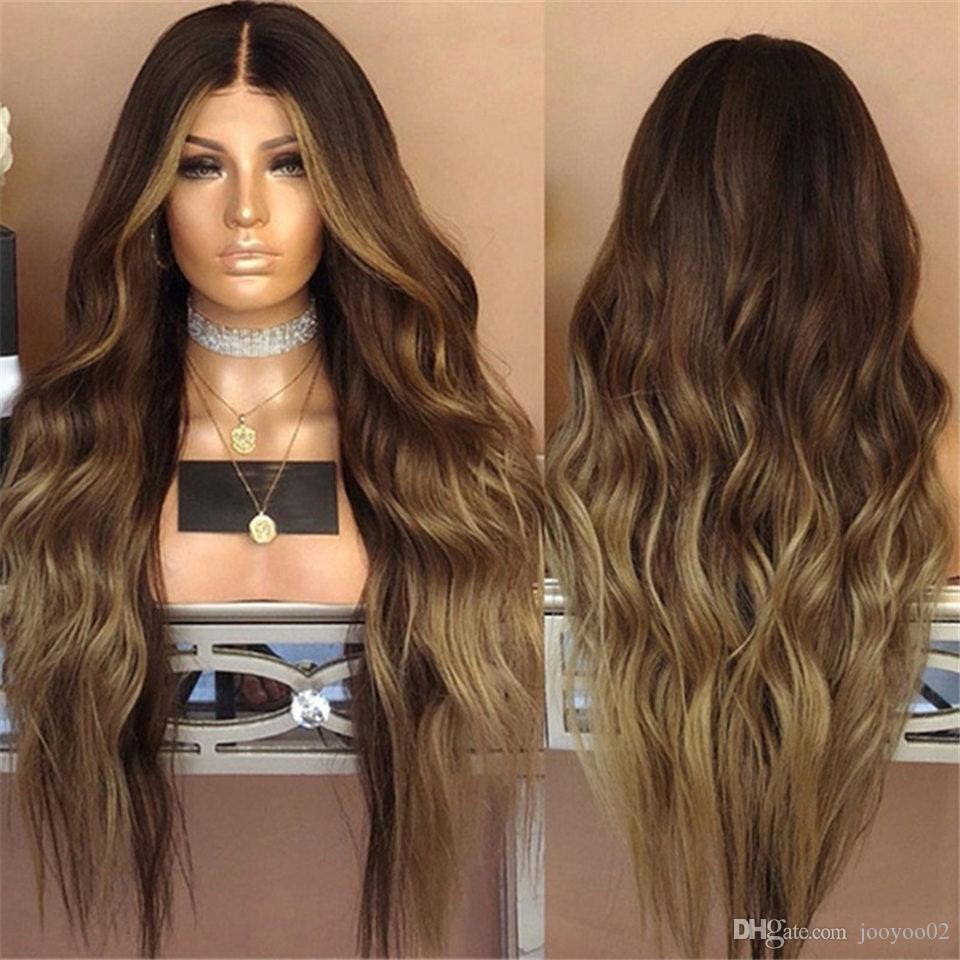 28 Inch Hot Sale Mechanism High Temperature Silk Fashion Trend Lnog Deep Wave Ombre Color Chemical Fiber Wig Set