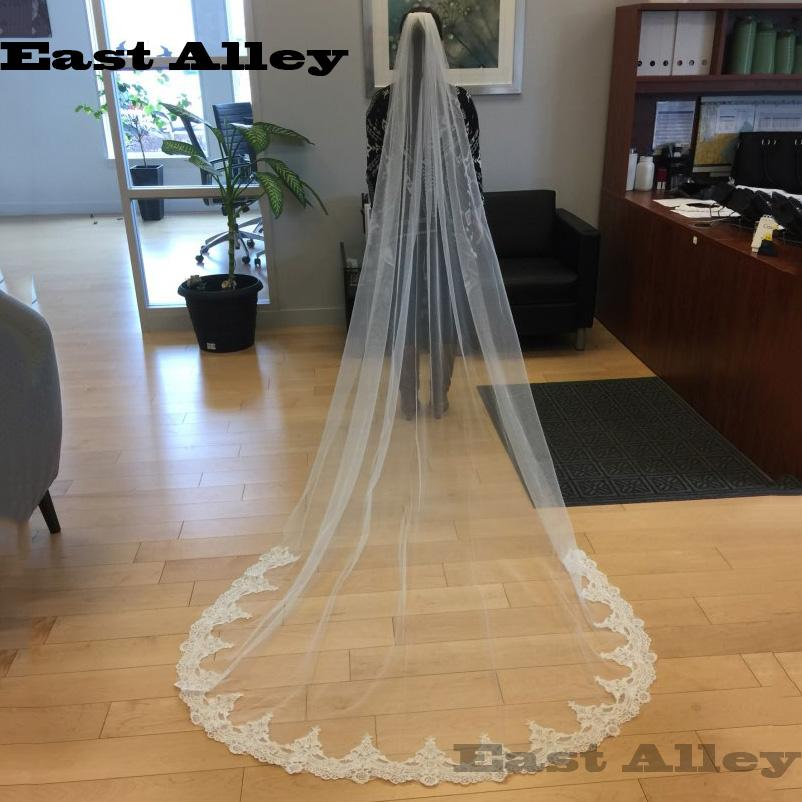 White Ivory Cathedral Length Wedding Veils One Layer Lace Bridal Accessories Veil with