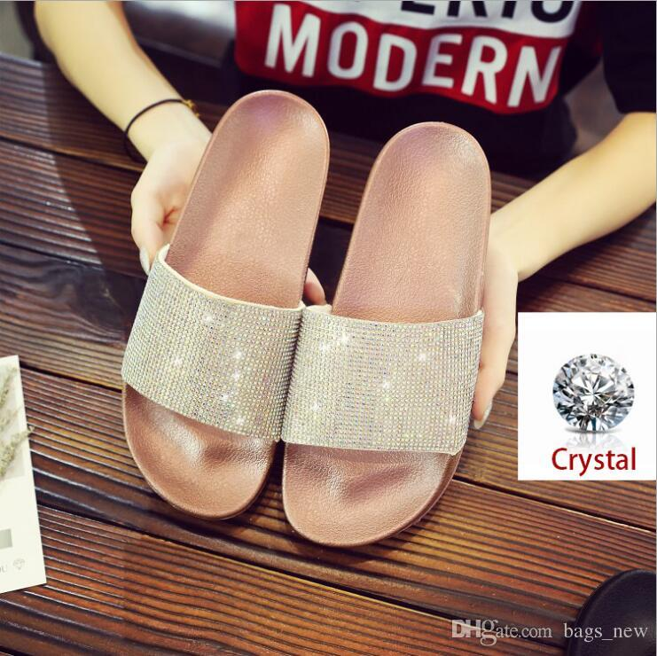 7fbeb392e Women Slippers Fashion Flip Flops Summer Women Crystal Diamond Bling Beach Slides  Sandals Casual Shoes Slip On Slipper Girls Boots Wedges Shoes From ...