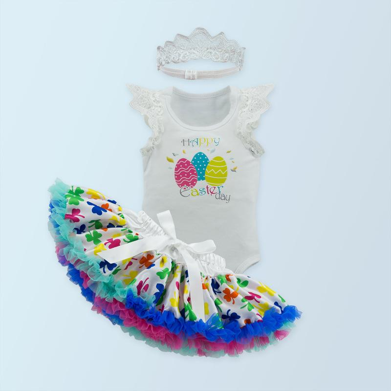 0e13578e1dff8 Baby Girls Happy Easter Day Letter Print Colorful Eggs Pattern Sleeveless  Romper Jumpsuit+Tu Tu Skirt+Crown Clothing Set Summer Outfit Baby Easter  Romper ...