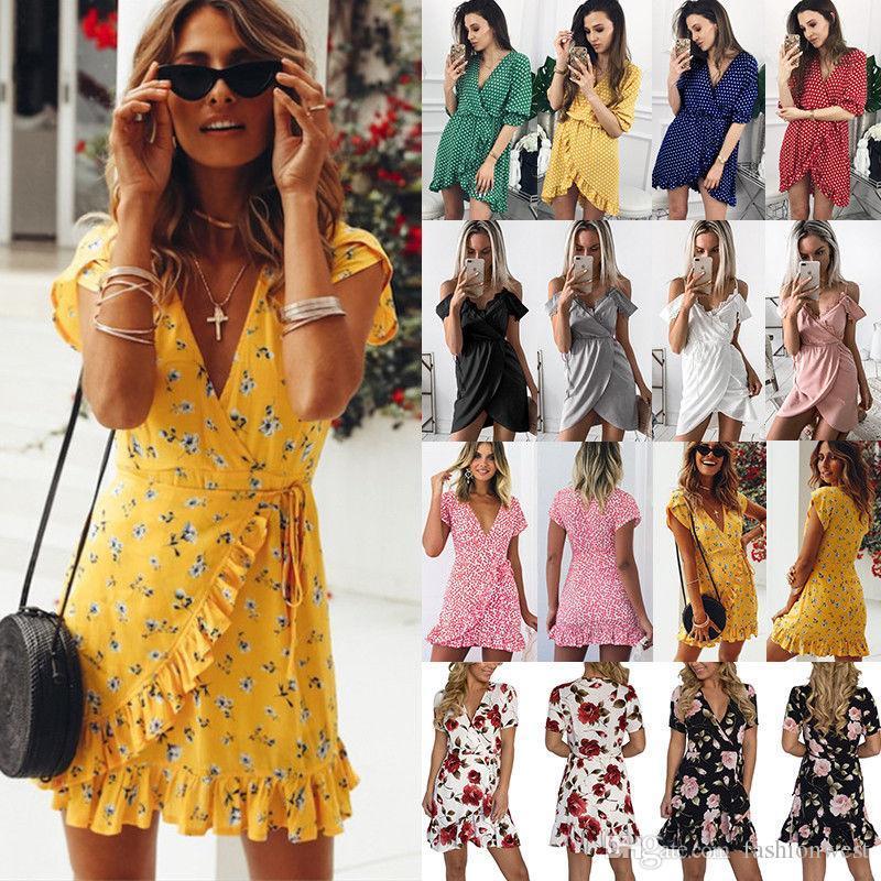 55cb793ddf1 Großhandel Nachtclub Kleider Damen Floral Clubwear Wickelkleid Damen Tiefem  V Ausschnitt Rüschen Beach Mini Dress UK Von Wuxiangliuwei