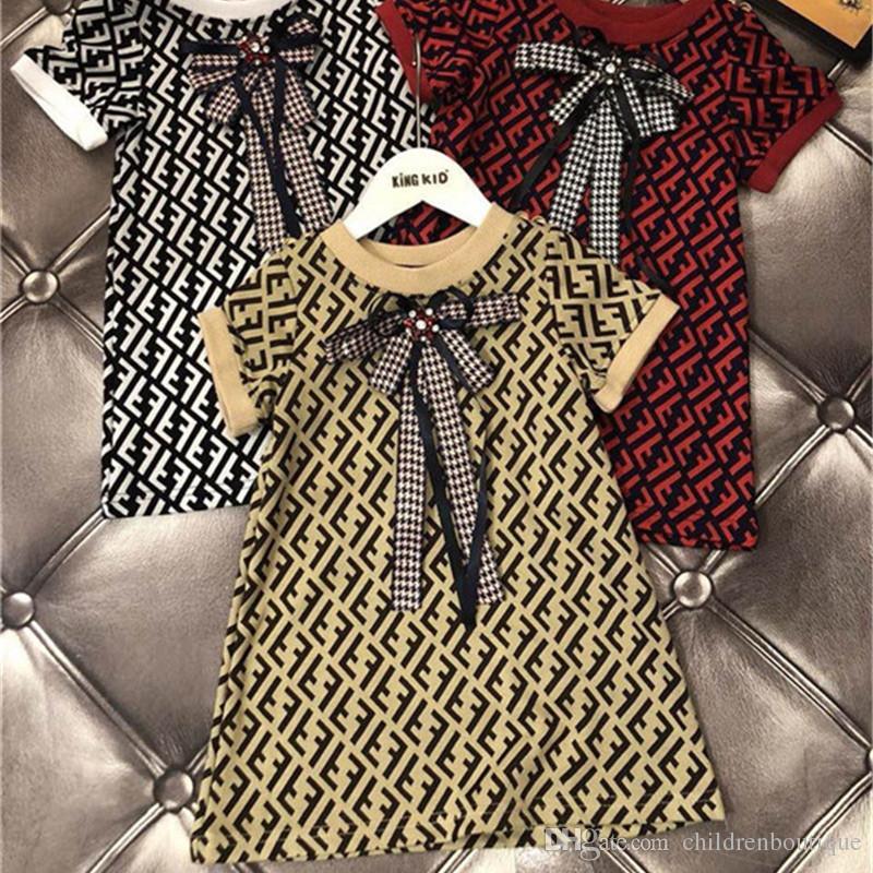 07f173f82e5 Acheter Bébé Enfants Vêtements Filles Robes Date De Mode Européen Et  Américain Style Lettre Robes Enfants Bébé Filles D anniversaire Robes De  Fête Tenues De ...